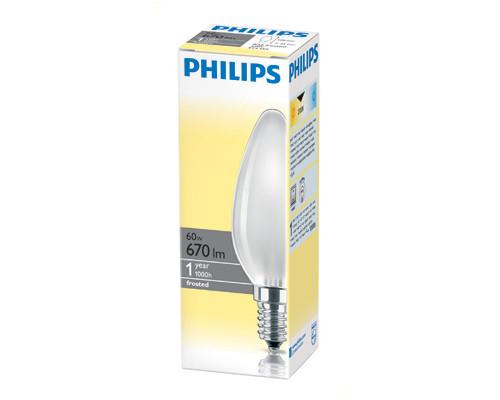 Электрическая лампа Philips свеча/матовая 60W E14 FR/B35 (10/100)