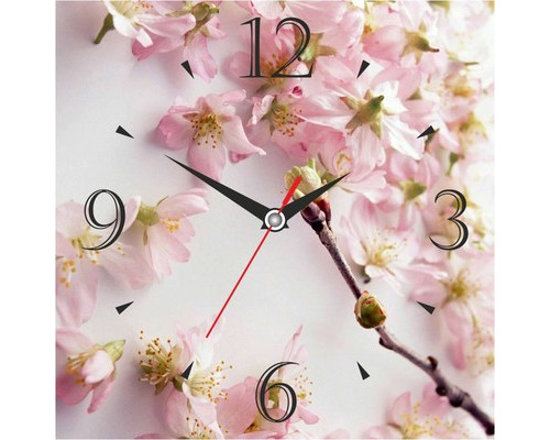 Часы настенные стеклянные квадрат Сакура