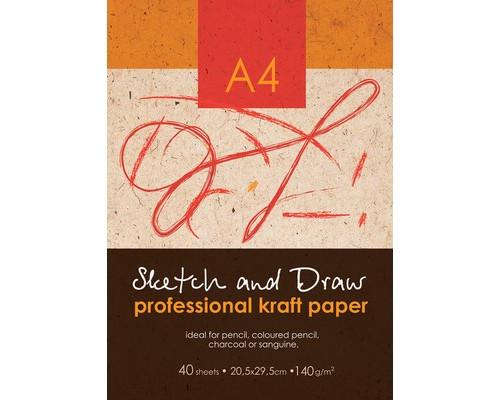Папка для рисования и эскизов А4,40л,бл.крафт 140г,05572