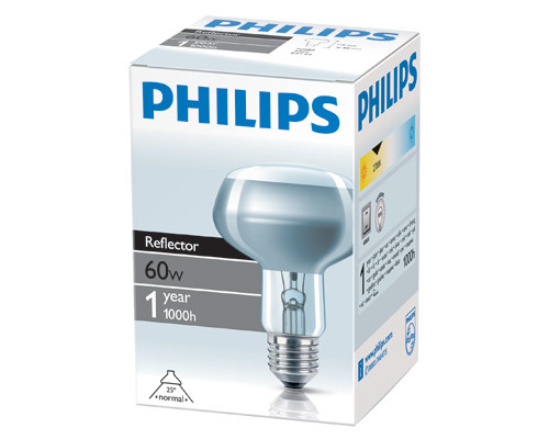 Электрическая лампа Philips рефлект. R80 60W E27 25D (30)