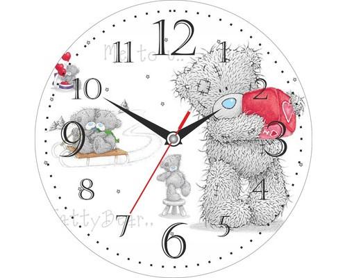 Часы настенные стеклянные круг Мишка