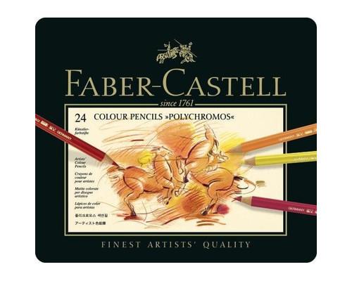 Карандаши цветные 24цв Faber-Castell Polychromos мет короб 110024