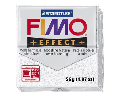 Глина полимерная белая с блестками,56гр,запек в печке,FIMO,effect,8020-052