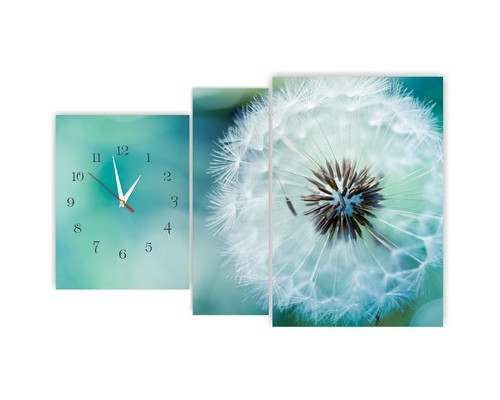 Часы и модульная картина Одуванчик 610х430см