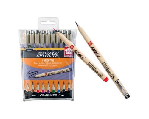 Ручка капилярная кисть Sakura Pigma brush 9цв POXSDKBR9