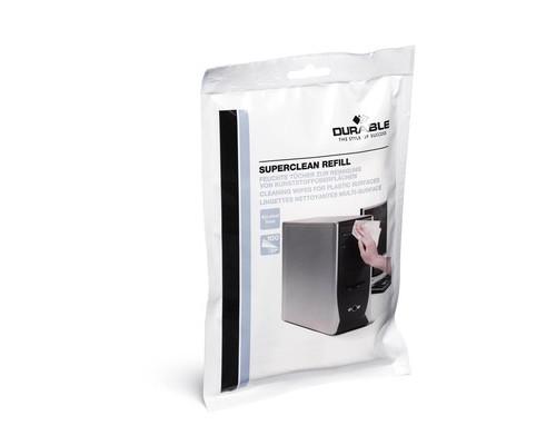 Салфетки Durable Superclean refill для чистки пластиковых поверхностей запасной блок 100 штук - (132571К)
