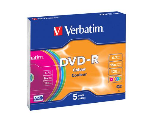 Диск DVD-R Verbatim 4.7 GB 16x 5 штук в упаковке - (86916К)