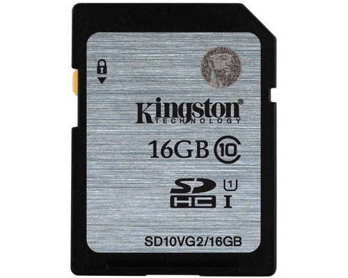 Карта памяти Kingston SDHC 16 Gb Class 10 SD10VG2/16 - (510328К)