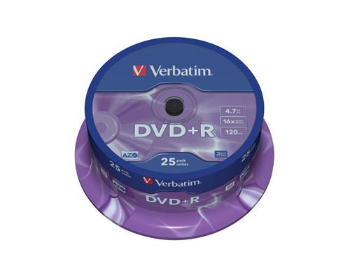 Диск DVD+R Verbatim 4.7 GB 16x 25 штук в упаковке - (95782К)