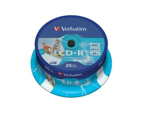 Диск CD-R Printable Verbatim 700 Mb 52x 25 штук в упаковке - (159196К)