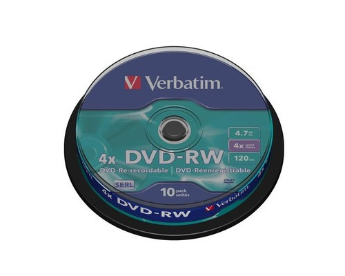Диск DVD-RW Verbatim 4.7 GB 4x 10 штук в упаковке - (95783К)