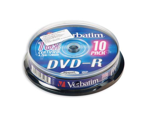 Диск DVD-R Verbatim 4.7 GB 16x 10 штук в упаковке - (75750К)
