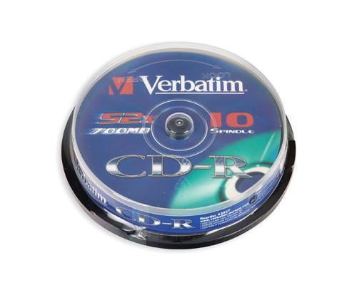 Диск CD-R Verbatim Extra Protection 700 Mb 52x 10 штук в упаковке Cake Box - (65716К)