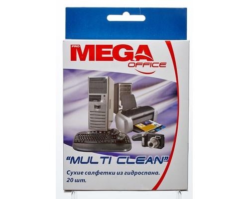 Салфетки ProMEGA Office Multi Clean для чистки поверхности сухие из гидроспана 20 штук - (131648К)