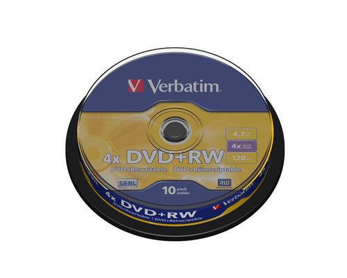 Диск DVD+RW Verbatim 4.7 GB 4x 10 штук в упаковке - (95784К)
