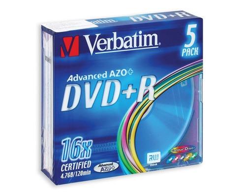 Диск DVD+R Verbatim 4.7 GB 16x 5 штук в упаковке - (86631К)