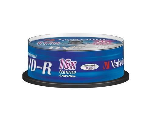 Диск DVD-R Printable Verbatim 4.7 Gb 16x 25 штук в упаковке - (84132К)