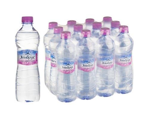 Вода минеральная Эльбрус негазированная 0.5 л 12 штук в упаковке - (383752К)
