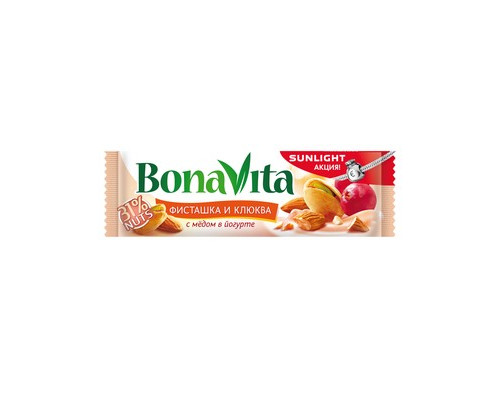 Батончик ореховый Bona Vita фисташки и клюква с медом в йогурте 35 г - (427628К)