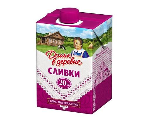Сливки Домик в деревне стерилизованные 20% 200 г - (310339К)