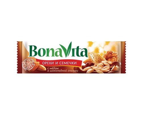 Батончик ореховый Bona Vita орехи и семечки с медом в шоколадной глазури 35 г - (427629К)