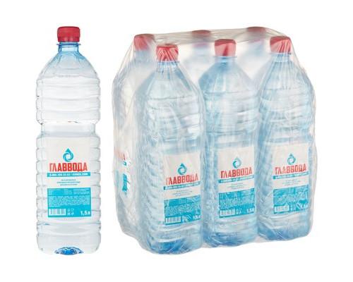 Вода питьевая Главвода негазированная 1.5 литра 6 штук в упаковке - (475479К)
