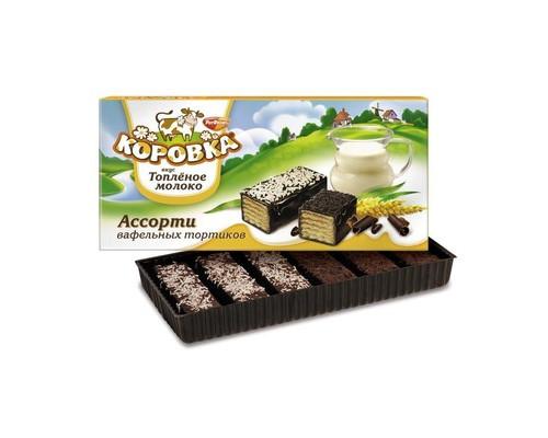 Торт вафельный Коровка Топленое молоко ассорти 200 г - (684641К)