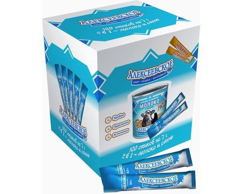 Молоко сгущенное порционное с сахаром Алексеевское 8.5% в стиках по 7 г 100 штук в упаковке - (437230К)