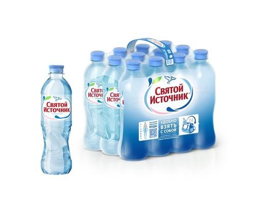Вода питьевая Святой Источник негазированная 0.5 л 12 штук в упаковке - (73496К)