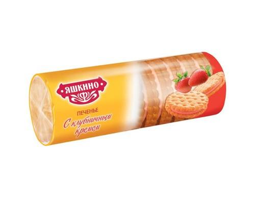 Печенье затяжное Яшкино с клубничным кремом 182 г - (450209К)