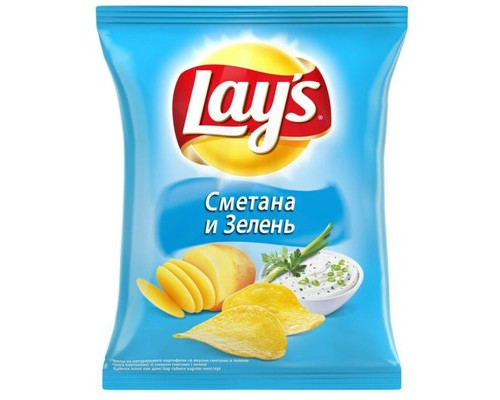 Чипсы Lays со вкусом сметаны и зелени 80 г - (276473К)