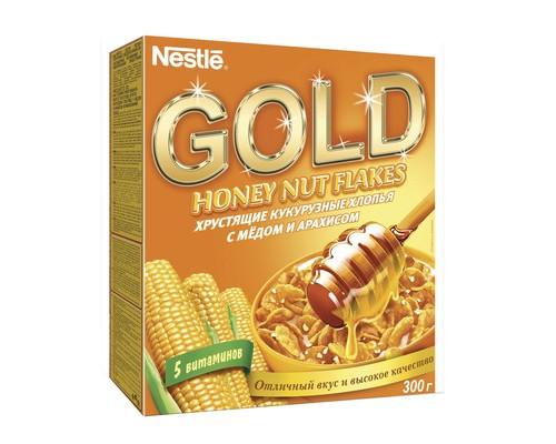 Хлопья Nestle Gold кукурузные с медом и арахисом 300 г - (333298К)