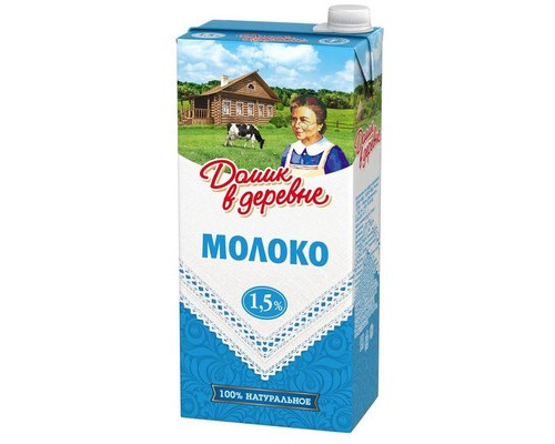 Молоко Домик в деревне ультрапастеризованное 1.5% 950 г - (104515К)