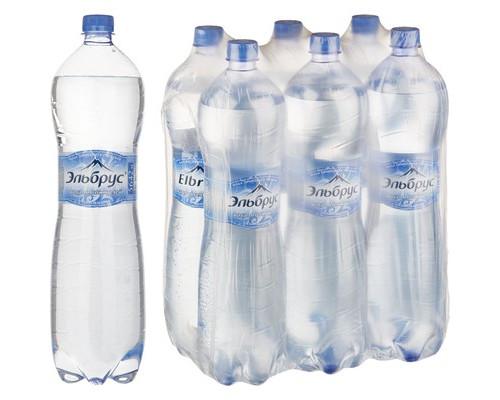 Вода минеральная Эльбрус газированная 1.5 л 6 штук в упаковке - (493885К)