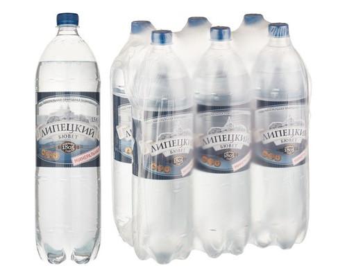 Вода минеральная Липецкий бювет газированная 1.5 литра 6 штук в упаковке - (493901К)