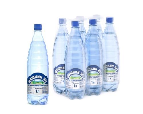 Вода питьевая Шишкин лес газированная 1 литр 6 штук в упаковке - (500271К)