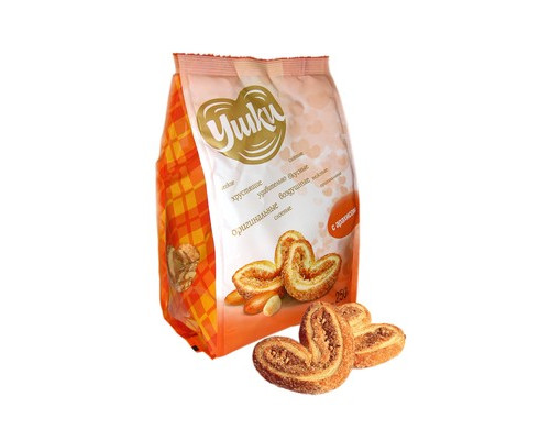 Печенье Ушки с сахаром и арахисом 250 г - (475006К)