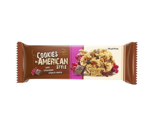 Печенье American Cookies с шоколадом и изюмом 135 г - (623022К)