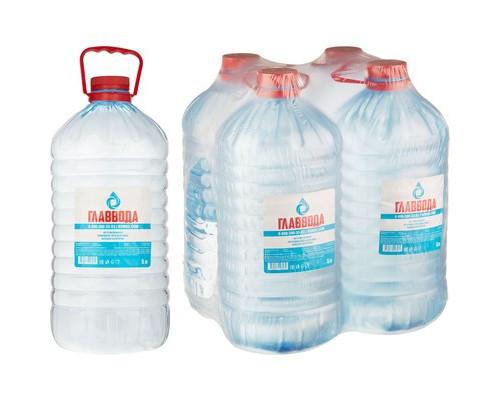 Вода питьевая Главвода негазированная 5 литров 4 штуки в упаковке - (475480К)