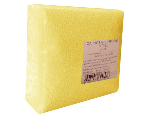 Салфетки бумажные Style Пастель 24х24 см желтые с тиснением 75 штук - (556710К)