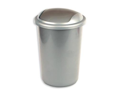 Ведро мусорное 12 л с крышкой-вертушкой пластиковое серый металлик - (35535К)