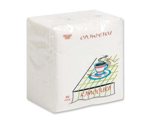 Салфетки бумажные 1-слойные 24x24 см белые 100 штук - (237К)