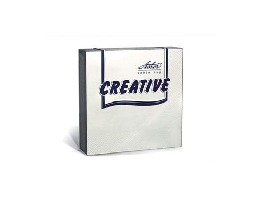 Салфетки бумажные Aster Creative 3-слойные 33x33 см белые с тиснением 20 штук - (162094К)