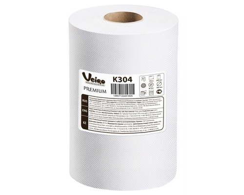 Полотенца бумажные в рулонах Veiro A1/A2 H1 Premium K304 2-слойные 6 рулонов по 160 метров - (420941К)