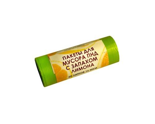 Мешки для мусора на 60 литров Знак качества желтые с ароматом лимона 16 мкм в рулоне 20 штук 60x68 см - (549519К)
