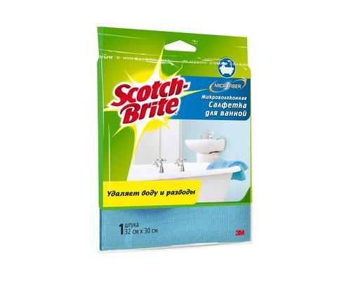 Салфетка Scotch-Brite для ванной микроволокно 300 г/м 30х32см 1 штука - (502454К)