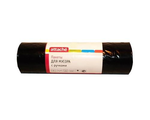 Мешки для мусора на 110 литров с ручками Attache черные 45 мкм в рулоне 20 штук 65x100 см - (330950К)