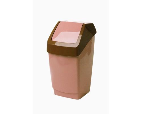 Ведро мусорное 7 л пластиковое с крышкой-вертушкой бежевый мрамор - (392935К)
