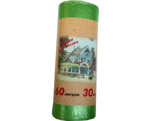 Мешки для мусора на 60 литров зеленые 10 мкм в рулоне 30 штук 58x66 см - (328814К)