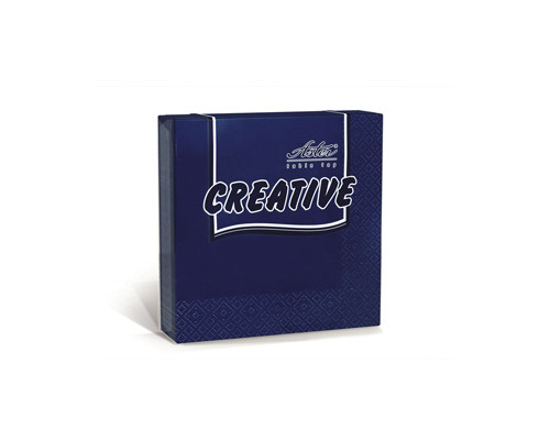 Салфетки бумажные Aster Creative 3-слойные 33x33 см синие с тиснением 20 штук - (162096К)